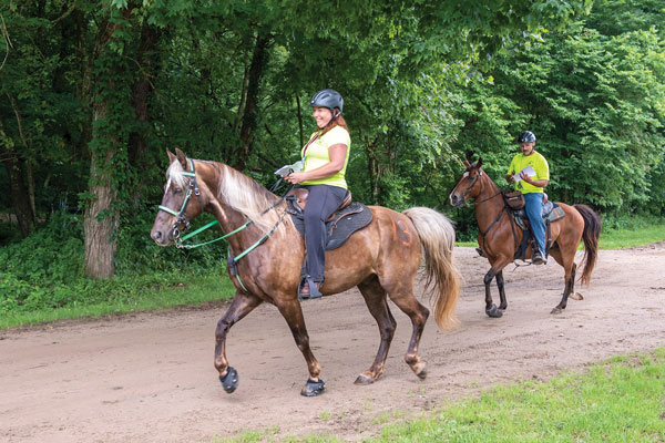 Riders on mounted orienteering trail.