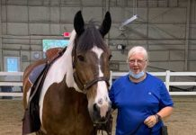 Veteran with horse at Centenary University
