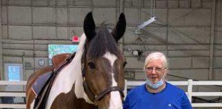 Veteran with horse at Centenary University