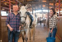 People with horse in barn.