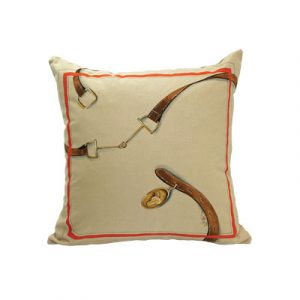 Hand painted throw pillow featuring horse hardware.