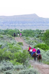 Riders on the trail during Big Horn 100.