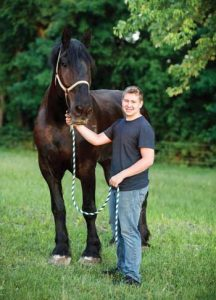 Youth Rilee Klaers and Cole, a Percheron driving horse