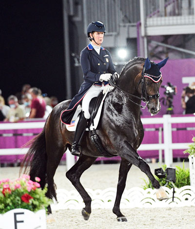 Sabine Schut-Kery and Sanceo in the Grand Prix Special at the Tokyo Olympics. Team Silver medal