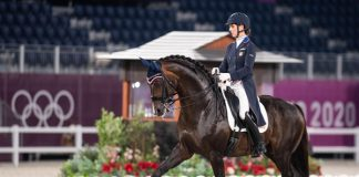 U.S. Dressage rider Sabine Schut-Kery and Sanceo during the Indivdiual medal round at the Tokyo Olympics.