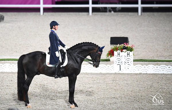 Sabine Schut-Kery and Sanceo in the Grand Prix on Day 1 of Dressage competition.