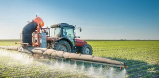 Spraying Pesticide on a Soybean Field