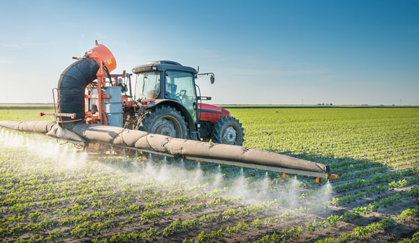 Spraying Pesticide on a Soybean Field