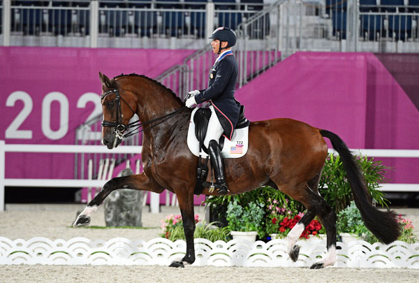 Steffen Peters and Suppenkasper in the Grand Prix Special at the Tokyo Olympics. Team Silver medal