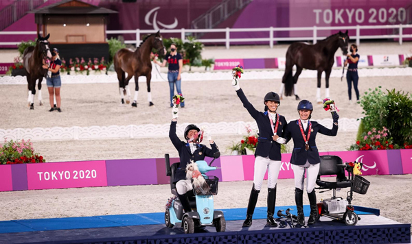 Team USA with their team bronze medal at the 2020 Tokyo Paralympics. Photo Courtesy U.S. Equestrian