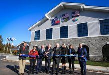The ribbon cutting ceremony for the new U.S. Equestrian building at the Kentucky Horse Park