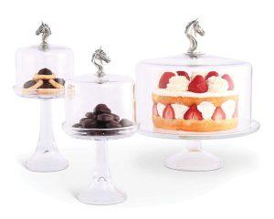 Horse glass dessert stands.
