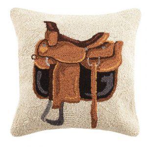 Western saddle wool throw pillow.