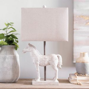 Whitewashed horse table lamp for decorating.