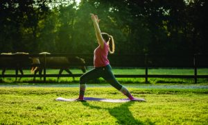 Person practicing yoga Warrior 1 pose.