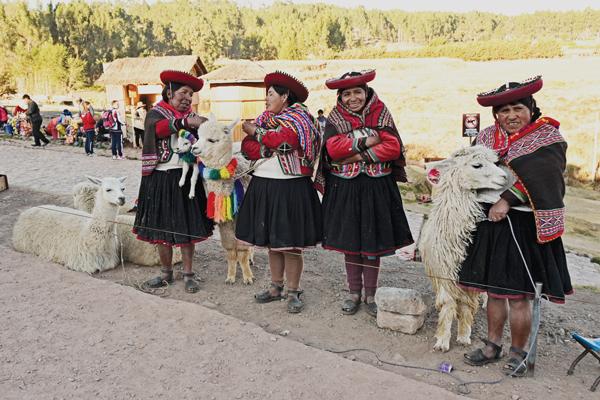 Cusco, Peru women with alpacas
