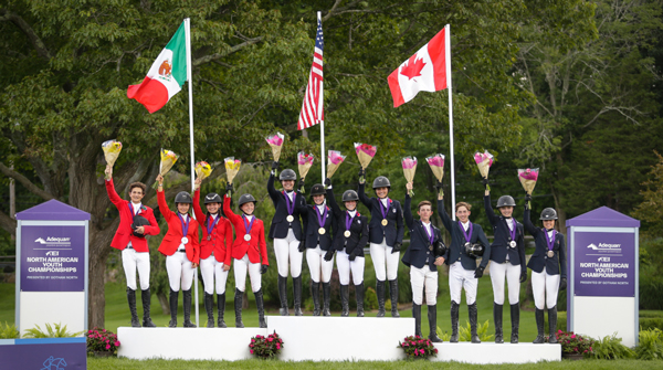 Teams on the podium at the FEI North American Youth Championships for Dressage and Jumping.