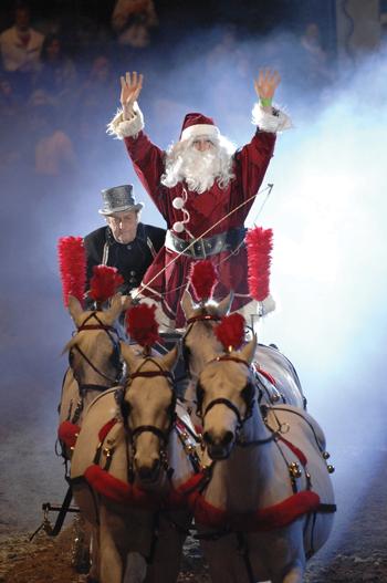 Santa's horse-drawn sleigh for Christmas