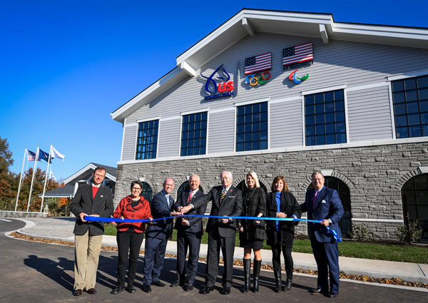 The ribbon cutting ceremony for U.S. Equestrian's new headquarters at the Kentucky Horse Park